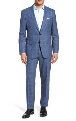 BOSS Huge/Genius Trim Fit Windowpane Wool Suit