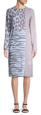 Salvatore Ferragamo Mixed-Print Shift Dress