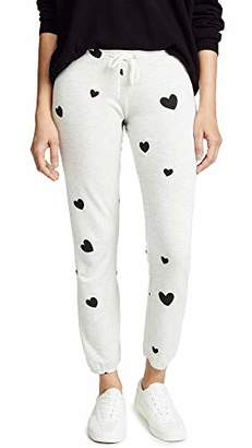 Monrow Women's Vintage Sweats with Scattered Hearts