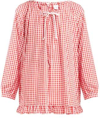 Comme des Garcons Gingham Ruffled Cotton Blouse - Womens - Red White
