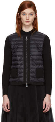 Moncler Black Down Maglia Zip-Up Sweater