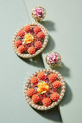 Anthropologie Floral Kaleidoscope Drop Earrings