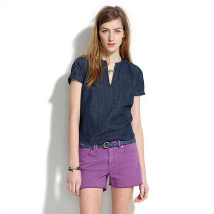 Madewell Denim Cutoff Shorts in Bright Hyacinth