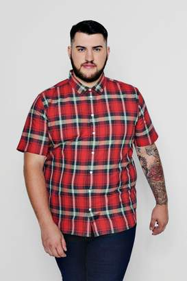 boohoo Big And Tall Short Sleeve Check Shirt