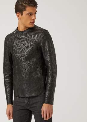 Emporio Armani Laser-Cut Leather Jacket