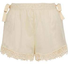 RED Valentino Lace-Trimmed Cotton-Gauze Shorts
