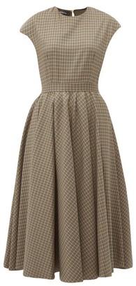 Rochas Full Skirt Checked Wool Blend Midi Dress - Womens - Brown Multi
