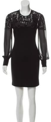 Just Cavalli Lace-Trimmed Mini Dress Black Lace-Trimmed Mini Dress