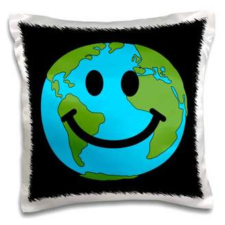 Planet Earth 3dRose Happy World Smiley Face - Globe Earth day - Smilie for Peace Eco friendly green symbol - Pillow Case, 16 by 16-inch