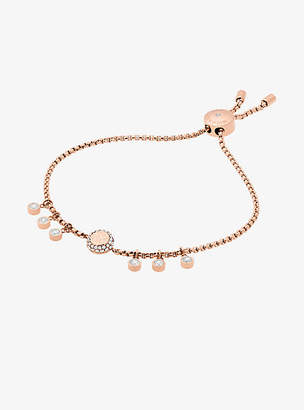Michael Kors Crystal Rose Gold-Tone Logo Slider Bracelet