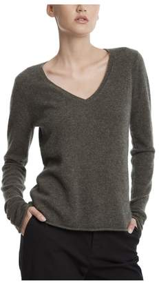 ATM Anthony Thomas Melillo Heather Army Cashmere V-Neck Sweater
