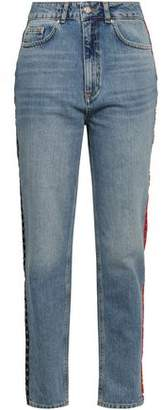 Anine Bing Appliqued Faded High-rise Tapered Jeans