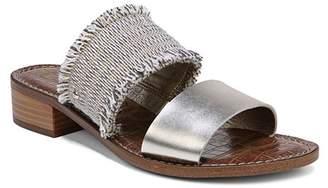 Sam Edelman Women's Jeni Metallic Leather & Fringe Slide Sandals
