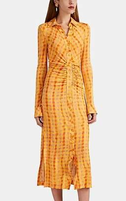 Altuzarra Women's Claudia Ruched Gingham Dress - Pollen