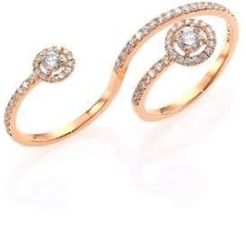 Marli Fifi Diamond& 18K Rose Gold Multi-Finger Ring