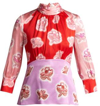 Peter Pilotto Floral Print Silk Blouse - Womens - Red