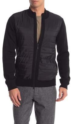 Toscano Puffer Contrast Wool Blend Zip Up Jacket