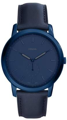 Fossil Men's Minimalist Three-Hand Leather Strap Watch, 44mm