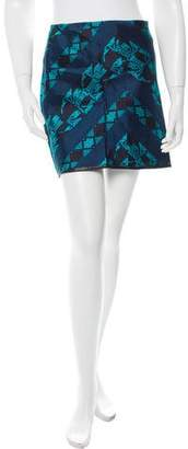 Porter Grey Leather-Trimmed Mini Skirt w/ Tags