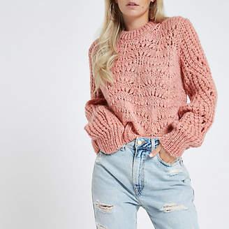 River Island Petite pink chunky knit sweater