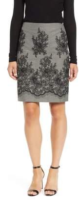 Anne Klein Embroidered Short Pencil Skirt