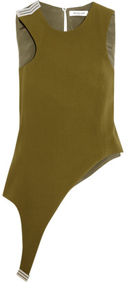 Mugler - Asymmetric Embellished Stretch-crepe Top - Army green $820 thestylecure.com