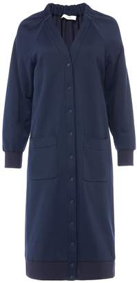 Tibi Marsha Luxe Knit Shirred V-Neck Cardigan Dress