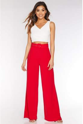 Quiz Red Belted Palazzo Trousers