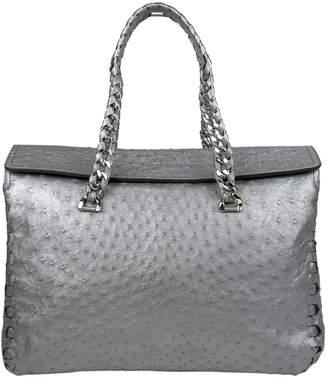 Roberto Cavalli Grey Ostrich Handbag