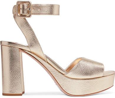Miu Miu - Metallic Textured-leather Platform Sandals - Gold