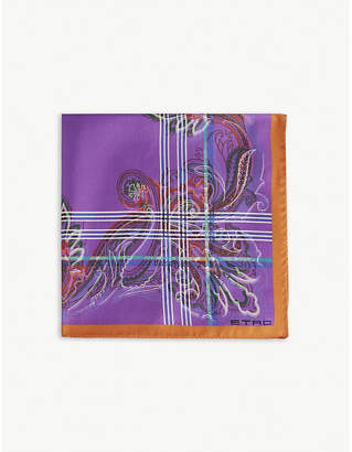 Etro Floral stripe silk pocket square