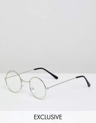Reclaimed Vintage Inspired Round Clear Lens Glasses In Silver
