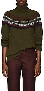 Barneys New York Women's Fair Isle Cashmere Sweater-Olive