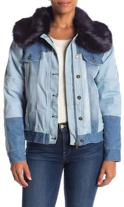 Fate Denim Faux Fur Trim Collar Jacket