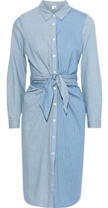 Iris & Ink Tie-front Patchwork-effect Striped Cotton Shirt Dress