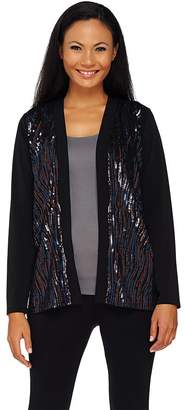 Bob Mackie Bob Mackie's Open Front Knit Jacket with Waterfall Sequin Front