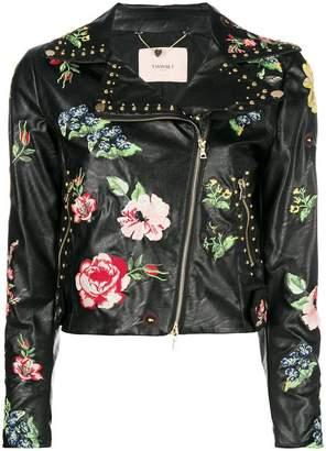 Twin-Set embroidered floral biker jacket