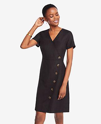 Ann Taylor Petite Side Button Linen Blend A-Line Dress