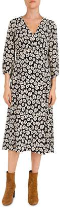 Gerard Darel Floral-Print Silk Midi Dress