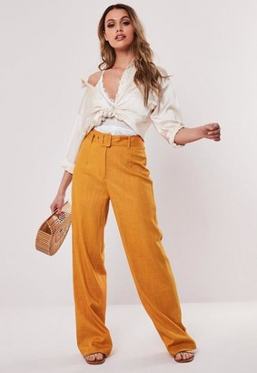 Missguided Linen Look Fabric Belted Trousers
