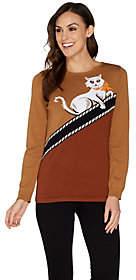 Nobrand NO BRAND Bob Mackie's Kitty Kat Intarsia Sweater