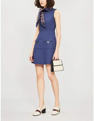 Valentino Logo-pocket wool-crepe mini dress