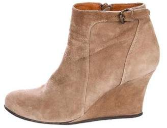 Lanvin Suede Round-Toe Wedge Boots