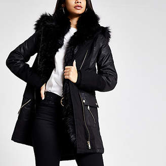 River Island Black faux fur trim oversized parka coat
