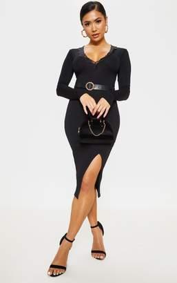 d2e017e122 PrettyLittleThing Petite Black Lace Trim Plunge Long Sleeve Bodysuit