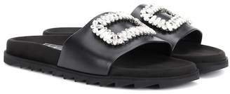 Roger Vivier Pool Slidy leather slides