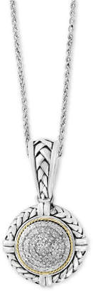 "Effy Balissima by Diamond Cluster 18"" Pendant Necklace (1/4 ct. t.w.) in Sterling Silver & 18k Gold"