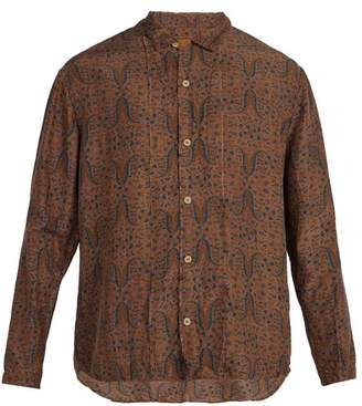 By Walid - Pita Stand Collar Floral Print Shirt - Mens - Brown Multi