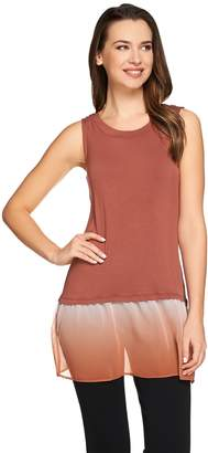 Logo By Lori Goldstein LOGO by Lori Goldstein Knit Tank with Ombre Chiffon Trim