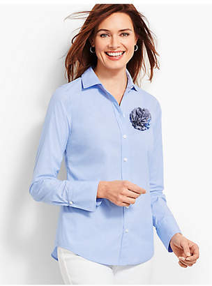 Talbots Poplin End-On-End Shirt - Solid